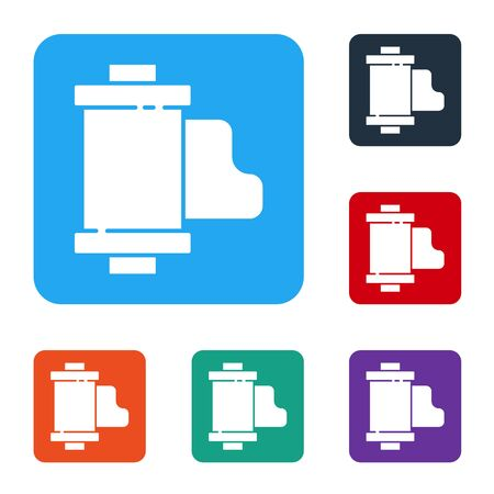 White Camera vintage film roll cartridge icon isolated on white background. 35mm film canister. Filmstrip photographer equipment. Set icons in color square buttons. Vector Illustration