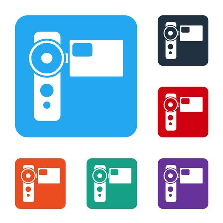White Cinema camera icon isolated on white background. Video camera. Movie sign. Film projector. Set icons in color square buttons. Vector