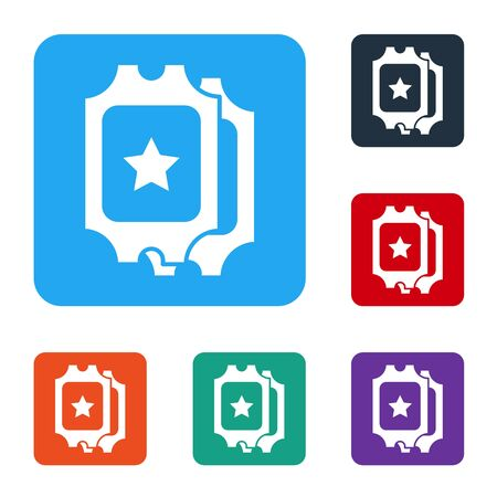 White Cinema ticket icon isolated on white background. Set icons in color square buttons. Vector