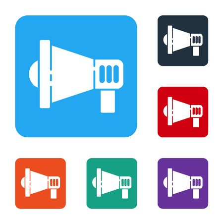 White Megaphone icon isolated on white background. Speaker sign. Set icons in color square buttons. Vector