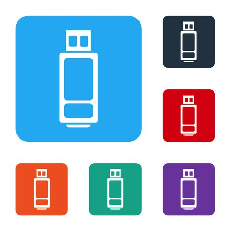 White USB flash drive icon isolated on white background. Set icons in color square buttons. Vector