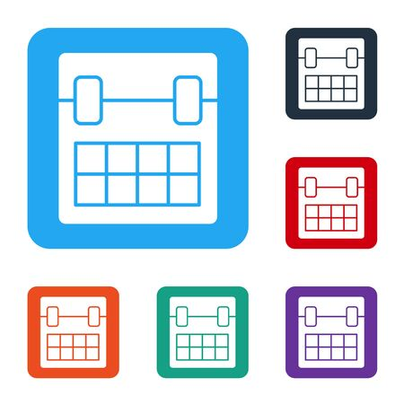 White Calendar icon isolated on white background. Event reminder symbol. Set icons in color square buttons. Vector
