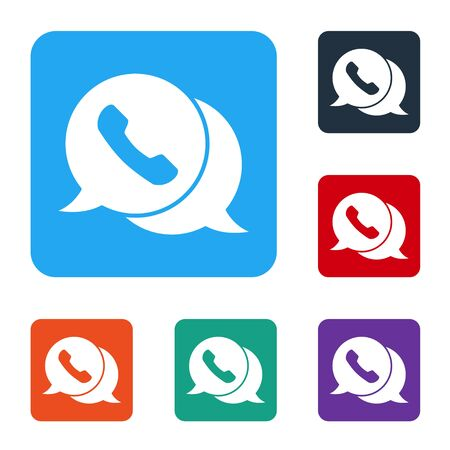 White Telephone with speech bubble chat icon isolated on white background. Support customer service, hotline, call center, faq. Set icons in color square buttons. Vector