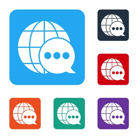 White World map made from speech bubble icon isolated on white background. Global communication scheme on Earth. Set icons in color square buttons. Vector