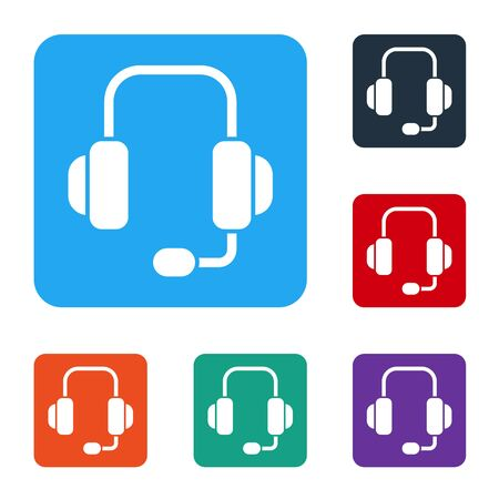 White Headphones icon isolated on white background. Support customer service, hotline, call center, faq, maintenance. Set icons in color square buttons. Vector Illustration