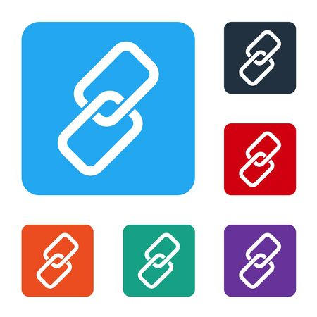White Chain link icon isolated on white background. Link single. Set icons in color square buttons. Vector Illusztráció