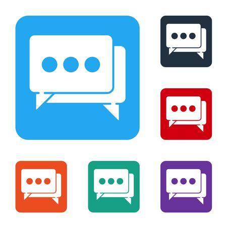 White Speech bubble chat icon isolated on white background. Message icon. Communication or comment chat symbol. Set icons in color square buttons. Vector Иллюстрация