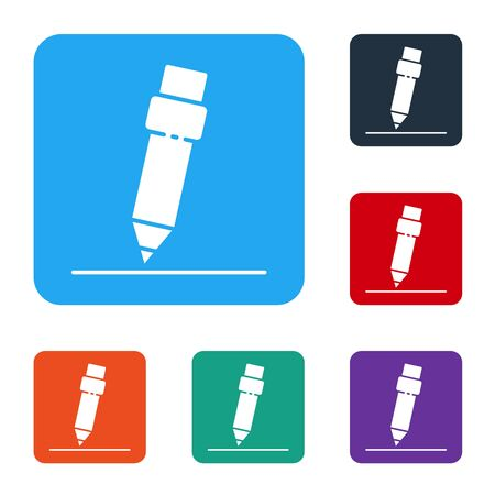 White Pencil with eraser icon isolated on white background. Drawing and educational tools. School office symbol. Set icons in color square buttons. Vector 向量圖像