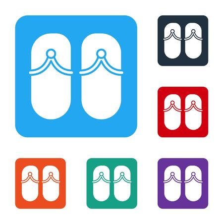 White Flip flops icon isolated on white background. Beach slippers sign. Set icons in color square buttons. Vector