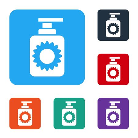 White Sunscreen spray bottle icon isolated on white background. Protection for the skin from solar ultraviolet light. Set icons in color square buttons. Vector Ilustracja