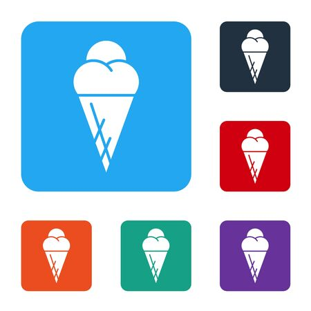 White Ice cream in waffle cone icon isolated on white background. Sweet symbol. Set icons in color square buttons. Vector