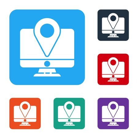 White Computer monitor and folded map with location marker icon isolated on white background. Set icons in color square buttons. Vector