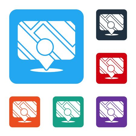 White Infographic of city map navigation icon isolated on white background. Mobile App Interface concept design. Geolacation concept. Set icons in color square buttons. Vector