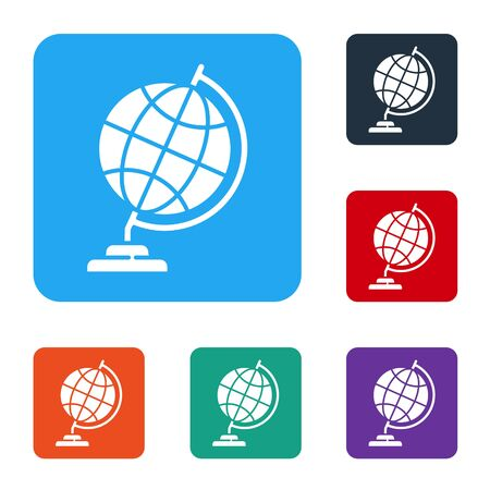 White Earth globe icon isolated on white background. Set icons in color square buttons. Vector