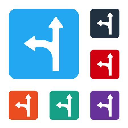 White Road traffic sign. Signpost icon isolated on white background. Pointer symbol. Isolated street information sign. Direction sign. Set icons in color square buttons. Vector Ilustração