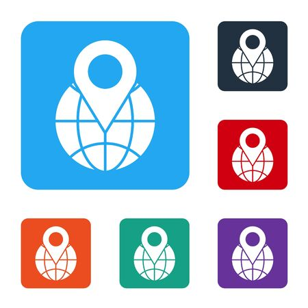 White Location on the globe icon isolated on white background. World or Earth sign. Set icons in color square buttons. Vector
