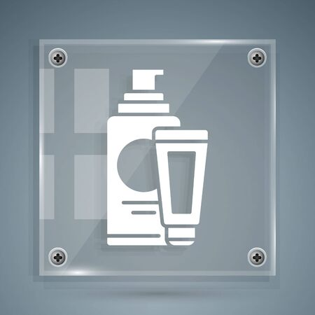 White Cream or lotion cosmetic tube icon isolated on grey background. Body care products for men. Square glass panels. Vector