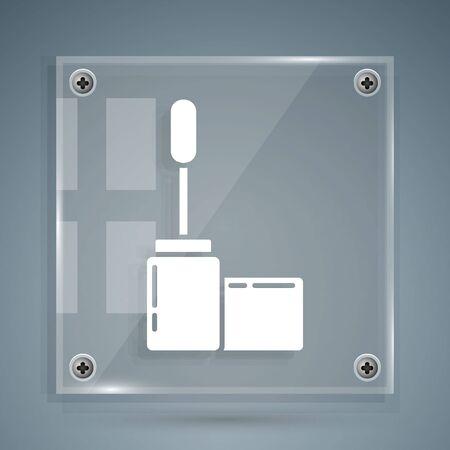 White Mascara brush icon isolated on grey background. Square glass panels. Vector