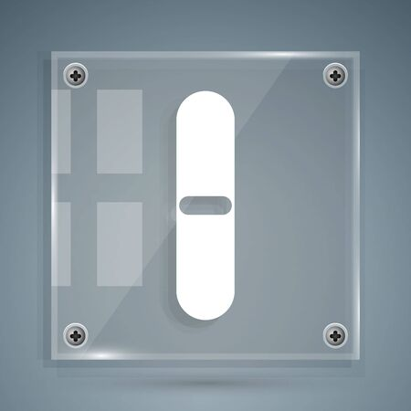 White Nail file icon isolated on grey background. Manicure tool. Square glass panels. Vector