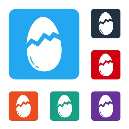 White Broken egg icon isolated on white background. Happy Easter. Set icons in color square buttons. Vector Иллюстрация