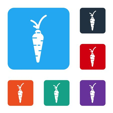 White Carrot icon isolated on white background. Happy Easter. Set icons in color square buttons. Vector Ilustração
