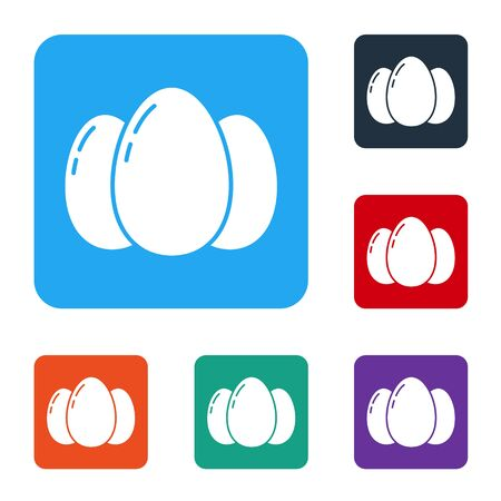White Easter eggs icon isolated on white background. Happy Easter. Set icons in color square buttons. Vector