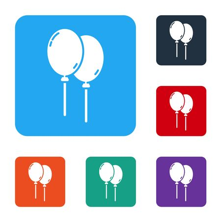 White Balloons with ribbon icon isolated on white background. Happy Easter. Set icons in color square buttons. Vector Ilustrace