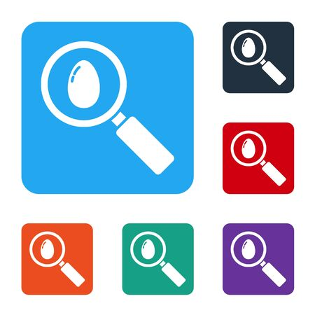 White Search and easter egg icon isolated on white background. Happy Easter. Set icons in color square buttons. Vector
