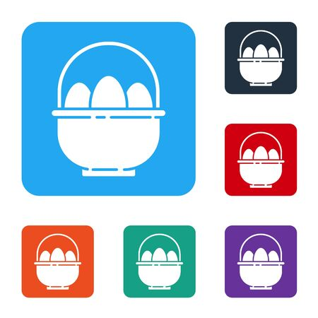 White Basket with easter eggs icon isolated on white background. Happy Easter. Set icons in color square buttons. Vector