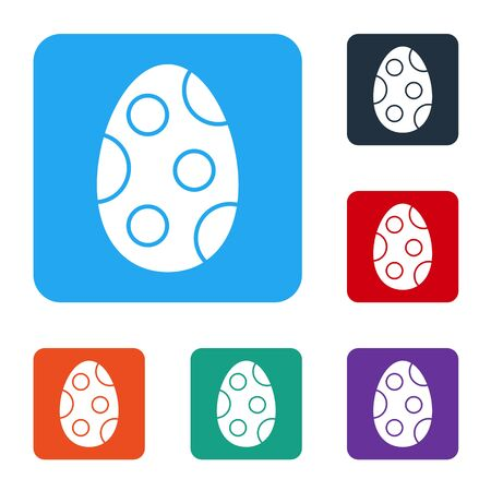 White Easter egg icon isolated on white background. Happy Easter. Set icons in color square buttons. Vector