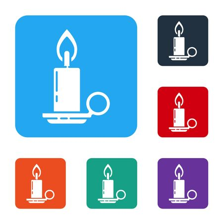 White Burning candle in candlestick icon isolated on white background. Cylindrical candle stick with burning flame. Set icons in color square buttons. Vector