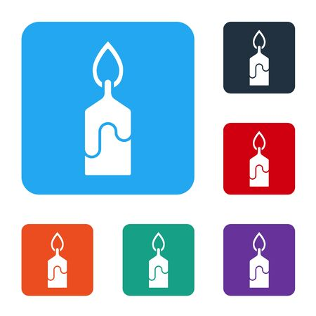 White Burning candle icon isolated on white background. Cylindrical candle stick with burning flame. Set icons in color square buttons. Vector