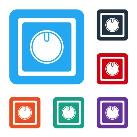 White Electric light switch icon isolated on white background. On and Off icon. Dimmer light switch sign. Concept of energy saving. Set icons in color square buttons. Vector