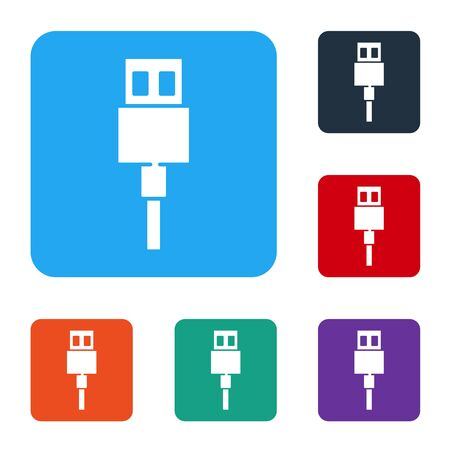 White USB cable cord icon isolated on white background. Connectors and sockets for PC and mobile devices. Set icons in color square buttons. Vector Stok Fotoğraf - 147586604
