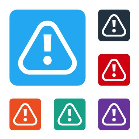 White Exclamation mark in triangle icon isolated on white background. Hazard warning sign, careful, attention, danger warning important. Set icons in color square buttons. Vector Иллюстрация