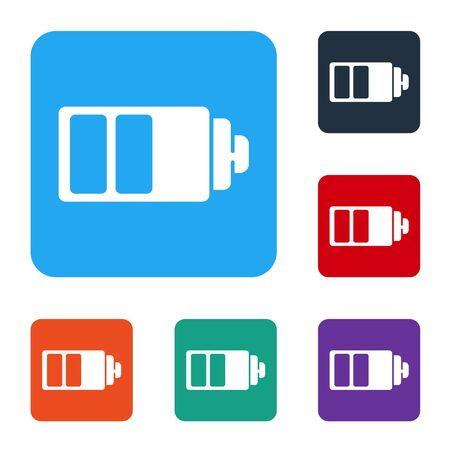 White Battery charge level indicator icon isolated on white background. Set icons in color square buttons. Vector