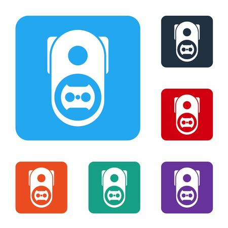 White Electrical outlet icon isolated on white background. Power socket. Rosette symbol. Set icons in color square buttons. Vector