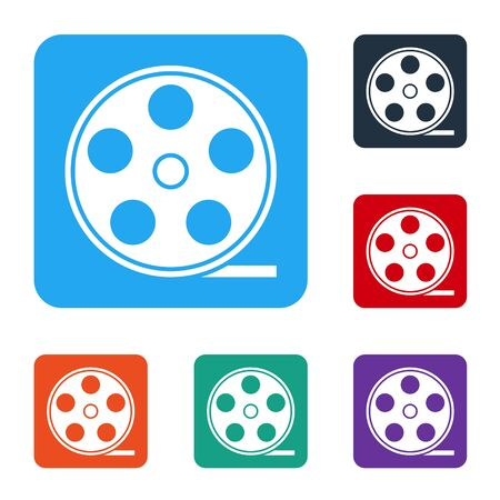 White Film reel icon isolated on white background. Set icons in color square buttons. Vector Illustration Illustration