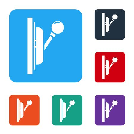 White Electrical panel icon isolated on white background. Switch lever. Set icons in color square buttons. Vector
