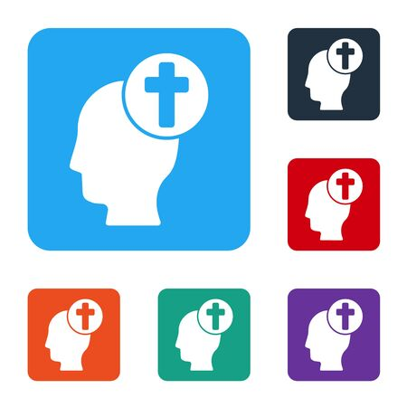 White Human head with christian cross icon isolated on white background. Set icons in color square buttons. Vector