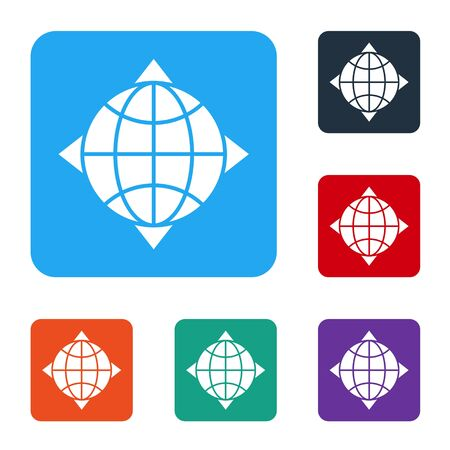White World globe with compass icon isolated on white background. Set icons in color square buttons. Vector