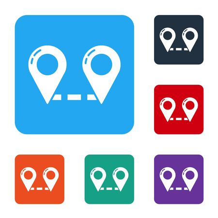 White Route location icon isolated on white background. Map pointer sign. Concept of path or road. GPS navigator. Set icons in color square buttons. Vector Ilustrace