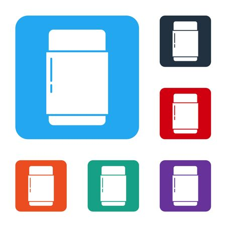 White Eraser or rubber icon isolated on white background. Set icons in color square buttons. Vector Иллюстрация
