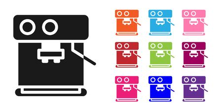 Black Coffee machine icon isolated on white background. Set icons colorful. Vector