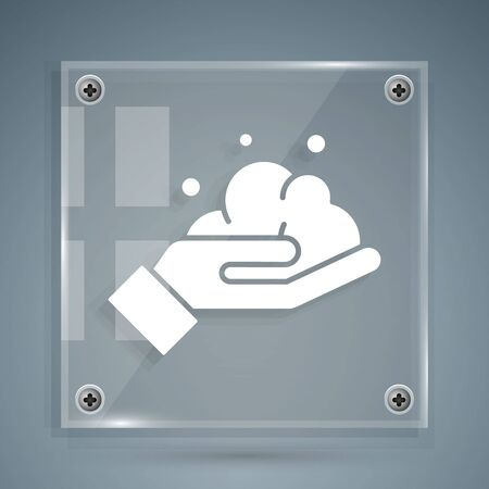 White Washing hands with soap icon isolated on grey background. Washing hands with soap to prevent virus and bacteria. Square glass panels. Vector