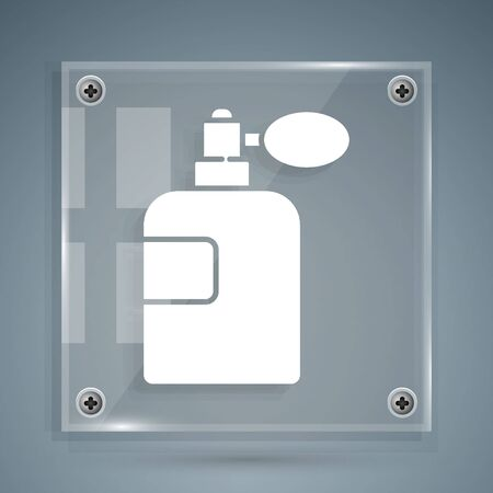 White Perfume icon isolated on grey background. Square glass panels. Vector
