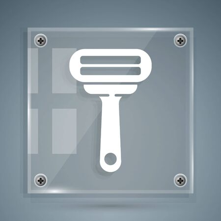 White Shaving razor icon isolated on grey background. Square glass panels. Vector