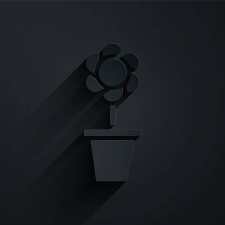 Paper cut Flower in pot icon isolated on black background. Plant growing in a pot. Potted plant sign. Paper art style. Vector