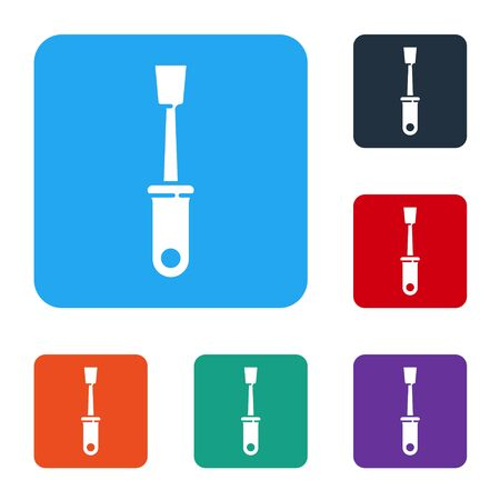 White Screwdriver icon isolated on white background. Service tool symbol. Set icons in color square buttons. Vector