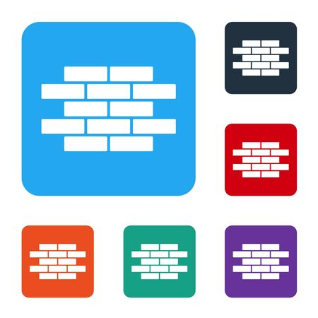 White Bricks icon isolated on white background. Set icons in color square buttons. Vector Иллюстрация
